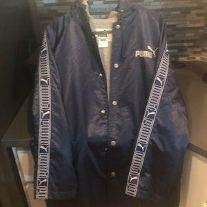 Puma  3 Quarter Hooded Button Down Jacket